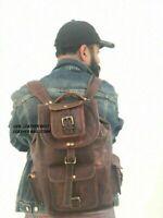 Leather Backpack Bag Hiking School Men Travel Laptop Satchel Shoulder Women