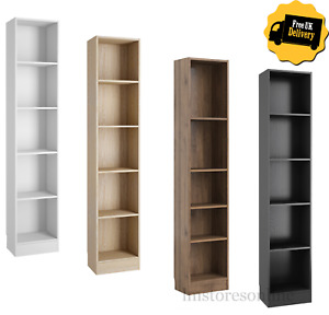 Tall Narrow Bookcase Display Shelving Unit 4 Shelves Wood Furniture Home Office