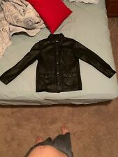 HARLEY DAVIDSON Leather Lined Shirt Jacket Men's Size M Black Snap Pockets