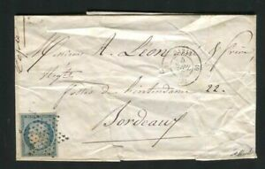 France 1852 - Rare letter from Paris bound for Bordeaux with No. 4 stamp - Stamp
