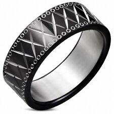 8mm Ring Flat Stainless Steel Set Diamond Cut IN Diamond