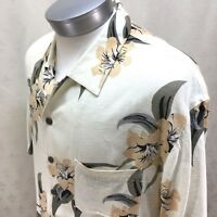 Caribbean Joe Hawaiian Shirt Tan Floral Heavy Rayon Aloha Mens X-Large XL   Bn12