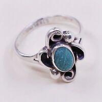 Sz 5.25, Vintage AH Native American Sterling Silver Turquoise Ring, 925 Navajo