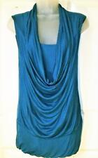 NEW ANNALEE + HOPE TEAL BLUE WATERFALL NECK TOP SIZE XS 8/10 # 472