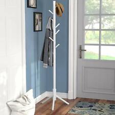 Vlush Sturdy Wooden Coat Rack Stand, Entryway Hall Coat Tree, 8 Hooks, White