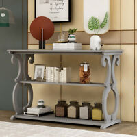 Wood Sideboard Buffet Console Table w/3-Tier Shelves Entryway Living Room Gray