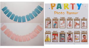 Pearlised Birthday 1-12 Mos Photo Frame Party Decoration Shower Bunting Banner