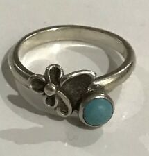 Native American Indian Jewelry Sterling Silver Turquoise Ring, Size 71/4
