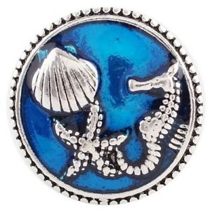 Silver Blue Sea Horse Star Fish Shell 20mm Snap Charm Jewelry For Ginger Snaps
