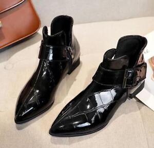 Women Pointed Toe Ankle Boots Patent Leather Shiny Black Stiletto High Heels New