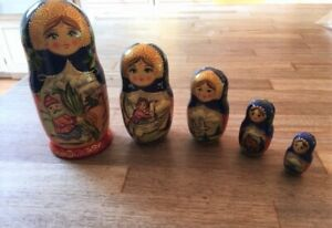 Russian fairy tale nesting dolls signed set of 5, hand made