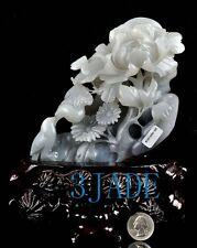Natural Hetian Nephrite Jade Bird Flower Statue Carving Sculpture w/ Certificate