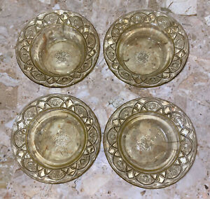 """Federal Rosemary Dutch Rose Amber Yellow Depression Glass 4 Pc Berry Bowls 5"""""""