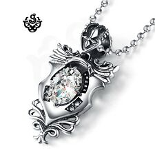 Silver emblem clear simulated diamond stainless steel gothic pendant necklace