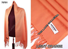 Plain Color Light Orange 100% Real Pashmina Cashmere Wool Shawl Wrap Scarf New