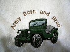 BIB-ARMY BORN AND BRED & JEEP- PINK, BLUE OR WHITE BIB AVAILABLE - BRAND NEW