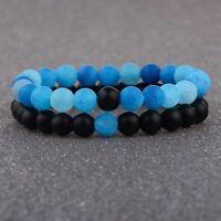 2x Black Blue Unisex Lovers Balanced Matte Agate Beads Couple Bracelets Gifts