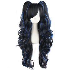 70cm Long Black Blue Color Curly Clip-In Ponytails Lolita Style Cosplay Wig
