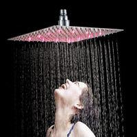 """12"""" LED Stainless Steel Shower Head Ultra-thin Rainfall Overhead Bathroom Chrome"""