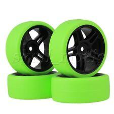 4 x RC1:10 On Road Car Pentagram Black Wheel Rims + Green Drift Tyres