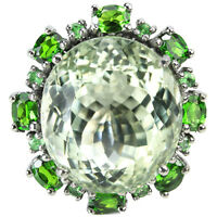 37ct NATURAL AMETHYST, CHROME DIOPSIDE, TSAVORITE STERLING 925 SILVER RING 6.75