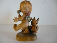 Anri Ferrandiz Wood Carving Nature Girl With Bunny And Flowers
