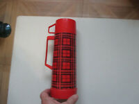 Vintage Aladdin Thermos Red Plaid 1 Pint Three Pieces #223 Rare