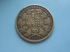 Germany, silver 1/2 Mark 1905J in Good Condition.