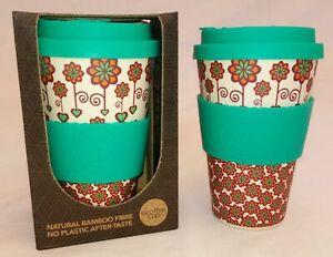 GENUINE BAMBOO ECOFFEE CUP, REUSABLE MUG FOR COFFEE TEA HOT CHOCOLATE 14oz 400ML
