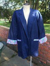 Vintage Denim 3/4 Sleeve Open Front Jacket/Blazer Print Trim