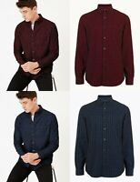 M&S Marks Spencer Mens Red Blue Corduroy Cord Check Gingham Shirt TOP M L XL 2XL