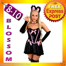 E71 Ladies Cheshire Cat Kitten Alice in Wonderland Fancy Dress Up Costume 8 10