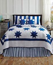 CHESAPEAKE 4 pc Queen Bedding Set 1 Quilt 2 Standard Shams 1 BedSkirt Blue White