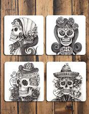 Drawn Skulls Glossy Hardboard Coasters Set of 4 Cool Gifts Printed In Australia