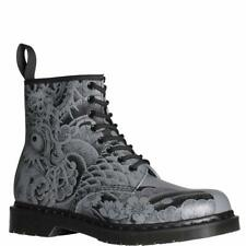 DR MARTENS 1460 OT Tattoo Backhand Leather Laced Boots Gunmetal UK 4/ US 6 new
