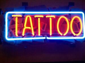 """Tattoo Rectangle Neon Sign Lamp Light Acrylic 17""""x10"""" Glass Beer Bar With Dimmer"""
