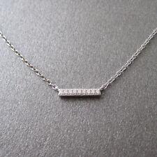 Collier fin barrette mini barre bâton serti de zirconium en argent 925 CO48