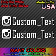 2x INSTAGRAM Custom Text Vinyl Decal Window Euro Drift JDM Sticker