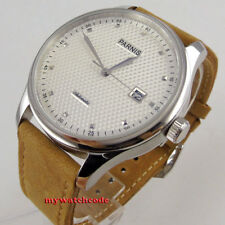 43mm parnis white dial date window leather seagull 2551 automatic mens watch 522