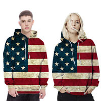 Women Men Vintage Casual Sweater American Flag Usa Hooded Coat Jacket for Lover