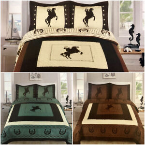 Texas Rustic Rider Rodeo Horse Shoe Star Western Quilt Bedspread Comforter! 3 Pc