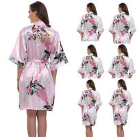 Silk Satin Wedding Peacock Personalized Bath Robe Bride Bridesmaid Dressing Gown
