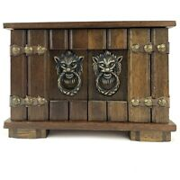 Vintage Japan Wood Music Jewelry Box Lion Head Pull Red Velvet Lining 3 Drawer