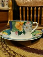 Set of (2) Christopher Stuart FRENCH BROCADE Optima Shape Cup & Saucer Sets