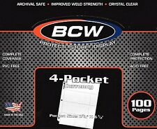 100 PRO4C 4 Pocket Pages for Regular Dollar Bills Currency Coupons