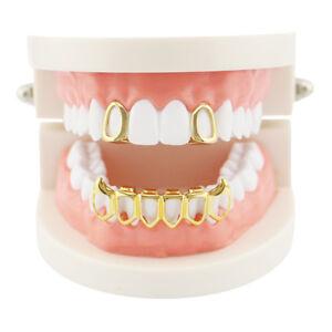 Hip Hop Grills Custom Fit 2 Single Top & 6 Bottom Set Hollow Fangs Teeth Grillz