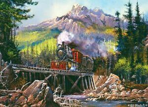 Jigsaw puzzle Train Moving Thru 71 Antique Steam Locomotive 1000 piece NEW