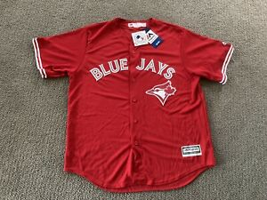 New W Tags Majestic Toronto Blue Jays Cool Base Red Canada Day Jersey Mens XL
