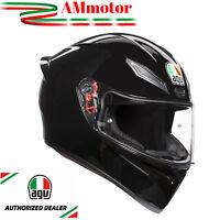 Casco Integrale Agv K1 Nero Lucido Mono Black DA Moto TG MS 57 Chiusura Doppia D