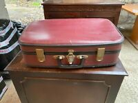 Vintage Dark Red Hard Bodied Suitcase Luggage Storage Display